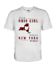 JUST AN OHIO GIRL IN A NEW YORK WORLD V-Neck T-Shirt thumbnail