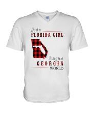 JUST A FLORIDA GIRL IN A GEORGIA WORLD V-Neck T-Shirt thumbnail