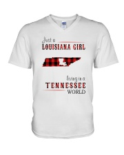 JUST A LOUISIANA GIRL IN A TENNESSEE WORLD V-Neck T-Shirt thumbnail
