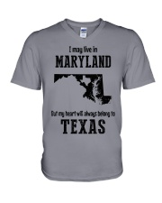 LIVE IN MARYLAND BUT BELONG TO TEXAS V-Neck T-Shirt thumbnail