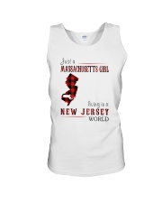 JUST A MASSACHUSETTS GIRL IN A NEW JERSEY WORLD Unisex Tank tile