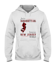 JUST A MASSACHUSETTS GIRL IN A NEW JERSEY WORLD Hooded Sweatshirt front