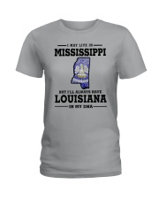 LIVE IN MISSISSIPPI BUT LOUISIANA IN MY DNA Ladies T-Shirt front