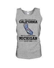 LIVE IN CALIFORNIA BUT MICHIGAN IN MY DNA Unisex Tank thumbnail