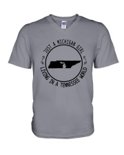 MICHIGAN GIRL LIVING IN TENNESSEE WORLD V-Neck T-Shirt thumbnail