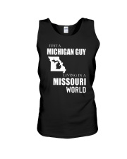 JUST A MICHIGAN GUY IN A MISSOURI WORLD Unisex Tank thumbnail