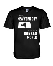 JUST A NEW YORK GUY IN A KANSAS WORLD V-Neck T-Shirt thumbnail