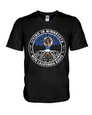 LIVING IN MINNESOTA WITH CALIFORNIA ROOTS V-Neck T-Shirt thumbnail