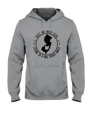 OHIO GIRL LIVING IN NEW JERSEY WORLD Hooded Sweatshirt front