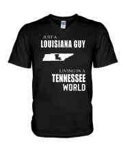 JUST A LOUISIANA GUY IN A TENNESSEE WORLD V-Neck T-Shirt thumbnail