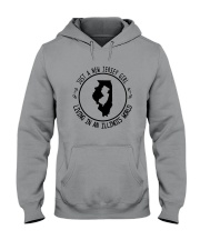 NEW JERSEY GIRL LIVING IN ILLINOIS WORLD Hooded Sweatshirt front