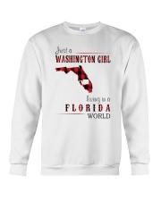 JUST A WASHINGTON GIRL IN A FLORIDA WORLD Crewneck Sweatshirt thumbnail