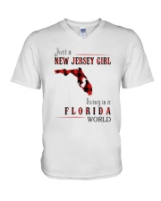JUST A NEW JERSEY GIRL IN A FLORIDA WORLD V-Neck T-Shirt thumbnail