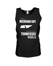 JUST A MICHIGAN GUY IN A TENNESSEE WORLD Unisex Tank thumbnail