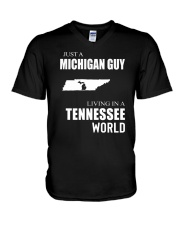 JUST A MICHIGAN GUY IN A TENNESSEE WORLD V-Neck T-Shirt thumbnail