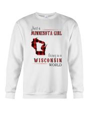 JUST A MINNESOTA GIRL IN A WISCONSIN WORLD Crewneck Sweatshirt thumbnail