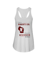 JUST A MINNESOTA GIRL IN A WISCONSIN WORLD Ladies Flowy Tank thumbnail