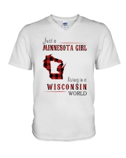 JUST A MINNESOTA GIRL IN A WISCONSIN WORLD V-Neck T-Shirt thumbnail