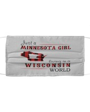 JUST A MINNESOTA GIRL IN A WISCONSIN WORLD Cloth face mask thumbnail