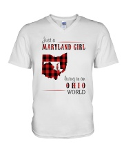 JUST A MARYLAND GIRL IN AN OHIO WORLD V-Neck T-Shirt thumbnail