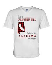 JUST A CALIFORNIA GIRL IN AN ALABAMA WORLD V-Neck T-Shirt thumbnail