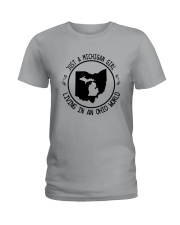 MICHIGAN GIRL LIVING IN OHIO WORLD Ladies T-Shirt thumbnail
