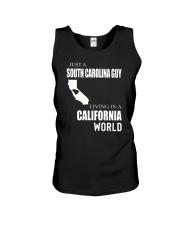 JUST A SOUTH CAROLINA GUY IN A CALIFORNIA WORLD Unisex Tank thumbnail