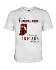 JUST A FLORIDA GIRL IN AN INDIANA WORLD V-Neck T-Shirt thumbnail