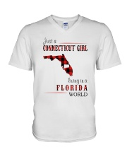 JUST A CONNECTICUT GIRL IN A FLORIDA WORLD V-Neck T-Shirt thumbnail