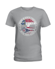 LIVING IN NORTH CAROLINA WITH OHIO ROOTS Ladies T-Shirt front