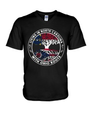 LIVING IN NORTH CAROLINA WITH OHIO ROOTS V-Neck T-Shirt thumbnail