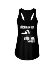 JUST A MICHIGAN GUY IN A VIRGINIA WORLD Ladies Flowy Tank thumbnail