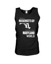 JUST A MASSACHUSETTS GUY IN A MARYLAND WORLD Unisex Tank thumbnail