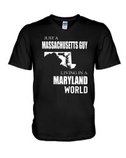JUST A MASSACHUSETTS GUY IN A MARYLAND WORLD V-Neck T-Shirt thumbnail