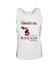 JUST A TENNESSEE GIRL IN A MICHIGAN WORLD Unisex Tank thumbnail
