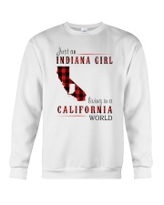 JUST AN INDIANA GIRL IN A CALIFORNIA WORLD Crewneck Sweatshirt tile