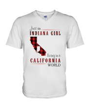 JUST AN INDIANA GIRL IN A CALIFORNIA WORLD V-Neck T-Shirt thumbnail