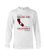 JUST AN INDIANA GIRL IN A CALIFORNIA WORLD Long Sleeve Tee tile