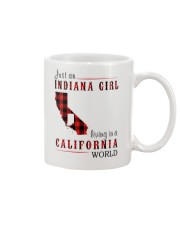 JUST AN INDIANA GIRL IN A CALIFORNIA WORLD Mug tile