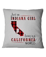 JUST AN INDIANA GIRL IN A CALIFORNIA WORLD Square Pillowcase thumbnail