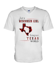 JUST A WISCONSIN GIRL IN A TEXAS WORLD V-Neck T-Shirt thumbnail