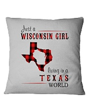 JUST A WISCONSIN GIRL IN A TEXAS WORLD Square Pillowcase thumbnail