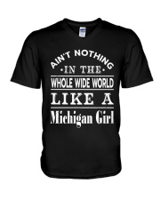 AIN'T NOTHING LIKE A MICHIGAN GIRL V-Neck T-Shirt tile