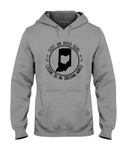 OHIO GIRL LIVING IN INDIANA WORLD Hooded Sweatshirt front