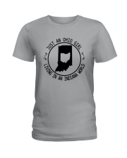 OHIO GIRL LIVING IN INDIANA WORLD Ladies T-Shirt thumbnail