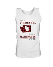 JUST A WISCONSIN GIRL IN A WASHINGTON WORLD Unisex Tank thumbnail