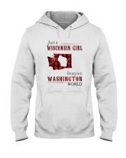 JUST A WISCONSIN GIRL IN A WASHINGTON WORLD Hooded Sweatshirt front