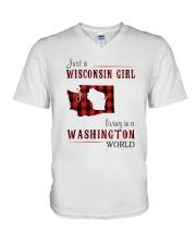 JUST A WISCONSIN GIRL IN A WASHINGTON WORLD V-Neck T-Shirt thumbnail
