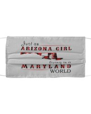 JUST AN ARIZONA GIRL IN A MARYLAND WORLD Cloth face mask thumbnail