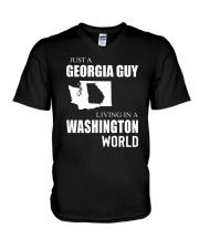 JUST A GEORGIA GUY IN A WASHINGTON WORLD V-Neck T-Shirt thumbnail